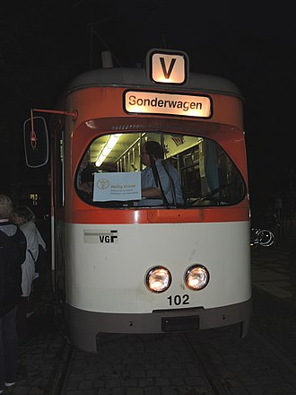 """Centre for Christian Meditation and Spirituality of the Diocese of Limburg - """"Tram of Silence"""" with M-type railcar 102 in 2013"""