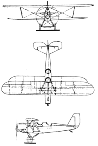 Heinkel HD 22 3-view Le Document aéronautique January,1927.png