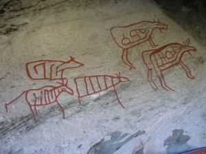 Rock carvings in Central Norway - Petroglyphs from Moelv, Norway.