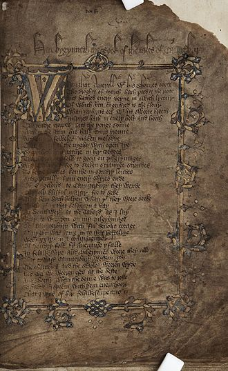 The Canterbury Tales - Title page of Geoffrey Chaucer's Canterbury Tales in the hand of Adam Pinkhurst, c.1400