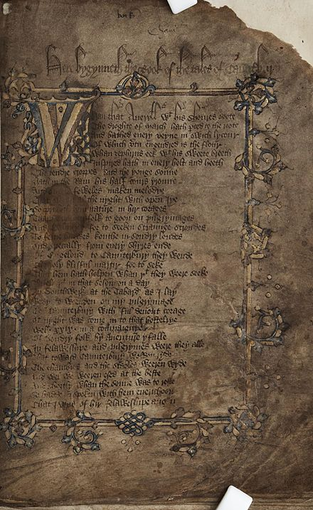 Title page of Geoffrey Chaucer's Canterbury Tales, c. 1400 Hengwrt Chaucer (f.2.r) title page.jpg