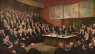Royal Institution - A Friday Evening Discourse at the Royal Institution; Sir James Dewar on Liquid Hydrogen by Henry Jamyn Brooks, 1904