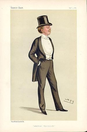 "Herbert Gardner, 1st Baron Burghclere - ""amateur theatricals"". Caricature by Spy published in Vanity Fair in 1886."