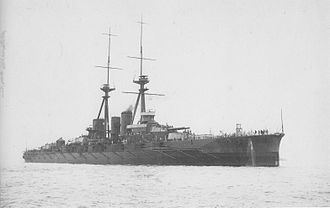 Japanese battleship Hiei - Hiei departing Yokosuka for Kure Naval Base, 23 March 1914