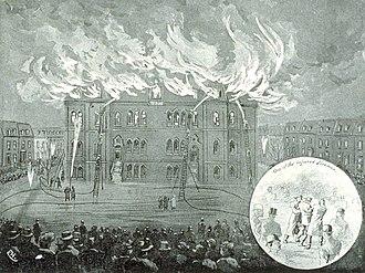 High School of Montreal - The school building in Peel Street on fire, 1890