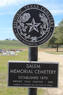 Photo of Salem Memorial Cemetery, Schulenburg, TX black plaque