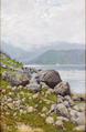 Holger H. Jerichau - Fjordparti med bjerge i baggrunden.png