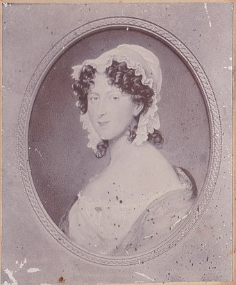An antique photograph of a portrait of Horatia Ward nee Nelson from the Style/Ward Family collection. Horatia was the daughter of Admiral Lord Horatio Nelson and Emma, Lady Hamilton. Horatia Ward nee Nelson.jpg