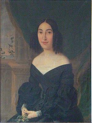 Ignace Brice - Hortense Poelaert (1815-1900), sister of the architect Joseph Poelaert and wife of Eugène van Dievoet (1804-1858), oil painting by Ignace Brice, 1840. (71cm x 85 cm)