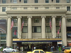 The front entrance of the Hotel Pennsylvania