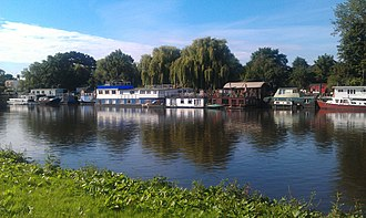 St Margarets, London - Houseboats on river Thames, close to Twickenham Bridge