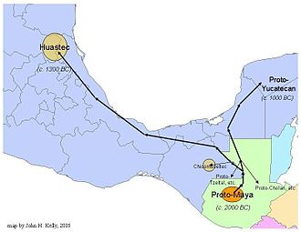 Huastec people - Approximate routes and dates of the proto-Huastec and other Maya-speaking groups