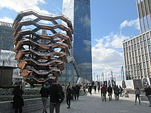 "Hudson Yards public plaza with the ""Vessel"" structure at left"