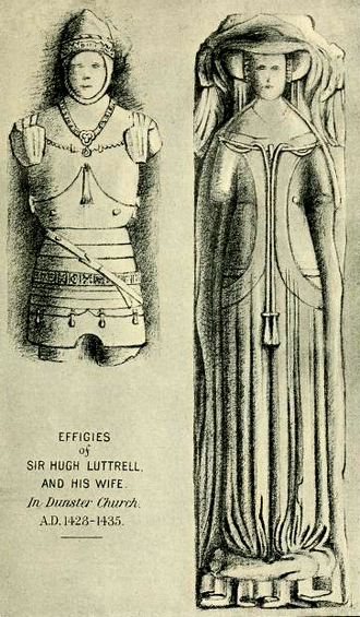 Sir Hugh Luttrell - Drawing circa 1909 of alabaster effigies in Dunster Church thought (by Maxwell-Lyte (1909)) to represent of Sir Hugh Luttrell (c.1364-1428) of Dunster Castle and his wife Catherine Beaumont (d.1435)