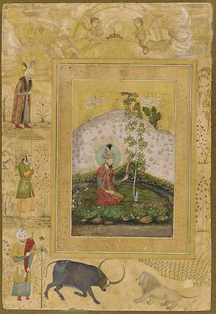 An image from an album commissioned by Shah Jahan shows Humayun sitting beneath a tree in his garden in India. Humayun sitting.jpg