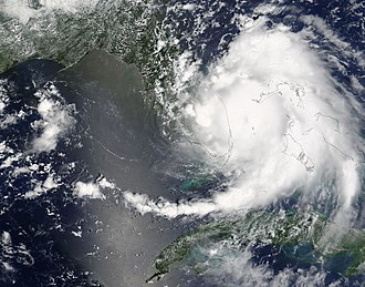 Meteorological history of Hurricane Katrina - Hurricane Katrina shortly before making landfall in Florida.