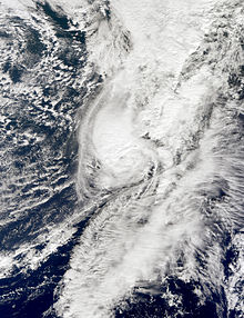 A satellite image depicting a hurricane prior to becoming absorbed by a frontal boundary on October 31.