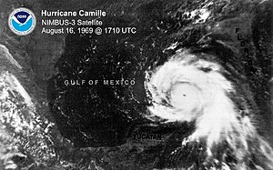Hurricane Camille in the Gulf.
