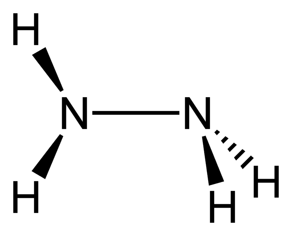 Stereo, skeletal formula of hydrazine with all explicit hydrogens added