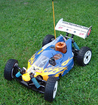 Radio-controlled car - An Ofna Hyper 8 Pro 1:8-scale nitro-powered racing buggy.