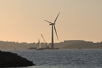 Floating wind turbine - The world's first full-scale floating wind turbine, Hywind, being assembled in the Åmøy Fjord near Stavanger, Norway in 2009, before deployment in the North Sea