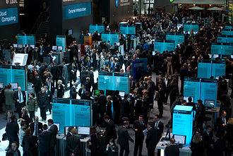 Trade fair - IBM stand during CeBIT 2010 at the Hanover Fairground, the largest exhibition ground in the world, in Hanover, Germany