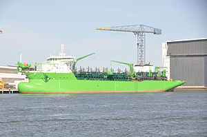 """DEME - The trailing suction hopper dredger """"Congo River"""" (capacity 30,000 m3) is one of the largest ships in the DEME fleet."""