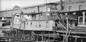 Idaho (sidewheeler) - Hulk of Idaho in use as a hospital on Seattle waterfront, 1899 to 1907.