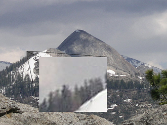 Video scaler - A blow-up of a small section of a 1024x768 (VESA XGA) resolution image; the individual pixels are more visible in its scaled form than its normal resolution.