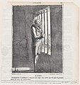 In Clichy- wondering if the repeal of the sentence will be quickly ratified, to allow him to see the exhibition, from 'News of the day,' published in Le Charivari, June 18, 1867 MET DP877688.jpg