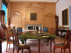 Queen Anne style furniture - Queen Anne furniture in the Governor's Council Chamber of Independence Hall, Philadelphia, Pennsylvania. The chairs are attributed to William Savery.