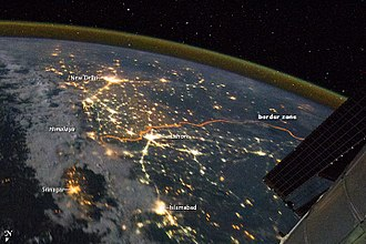 India–Pakistan border - Image: India Pakistan Borderlands at Night NASA Earth Observatory