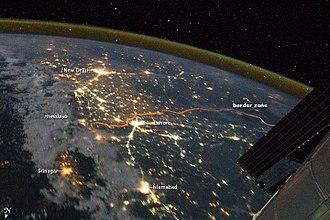 India–Pakistan border - Image: India Pakistan Borderlands at Night NASA Earth Observatory