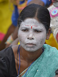 Indian woman with white make-up, Gwalior, MP.jpg