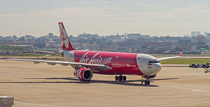 Indonesia AirAsia X - An Indonesia AirAsia X Airbus A330-300 taxiing at Sydney Airport