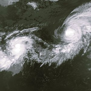 Hurricane Iniki - Iniki (left) as a newly formed tropical storm next to Hurricane Orlene