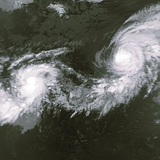 Hurricane Iniki - Iniki (left) as a newly formed tropical storm next to Hurricane Orlene