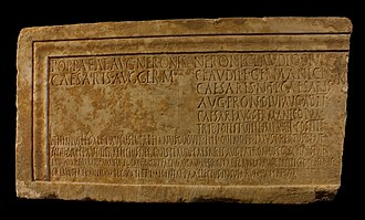 Inscription of L. Glaucus Lucretianus with dedication - Mostra di Nerone - Palatin hill.jpg