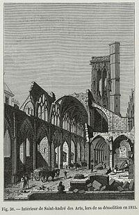 Intérieur de Saint-André des Arts, lors de sa démolition en 1815.jpg