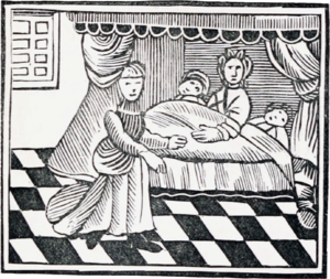 Dream interpretation - Interpretation of dreams, engraving from an English chapbook.