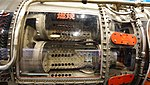 J79-IHI-11A turbojet engine(cutaway model) combustion section right side view at JASDF Hamamatsu Air Base Publication Center November 24, 2014.jpg