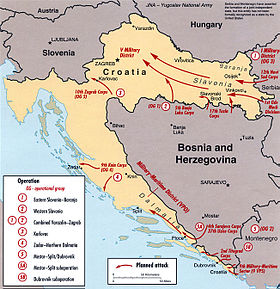 Map showing Croatia with arrows indicating the movement of JNA units from Serbia and northern Bosnia into eastern Croatia, from western Bosnia into central Croatia, from Knin into northern Dalmatia and from Bosnia and Montenegro into southern Dalmatia.