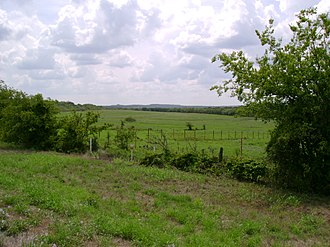 Jack County, Texas - A scene typical of the mixed pastures and wooded hills of eastern Jack County