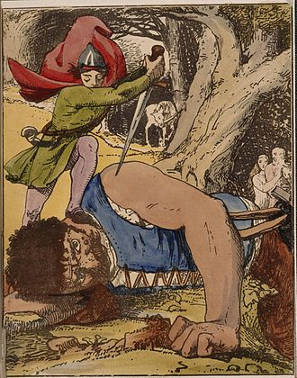 Heroic fantasy - Jack killing the giant - The Chronicle of the Valiant Feats of Jack the Giant Killer (1845), facing 20 - BL