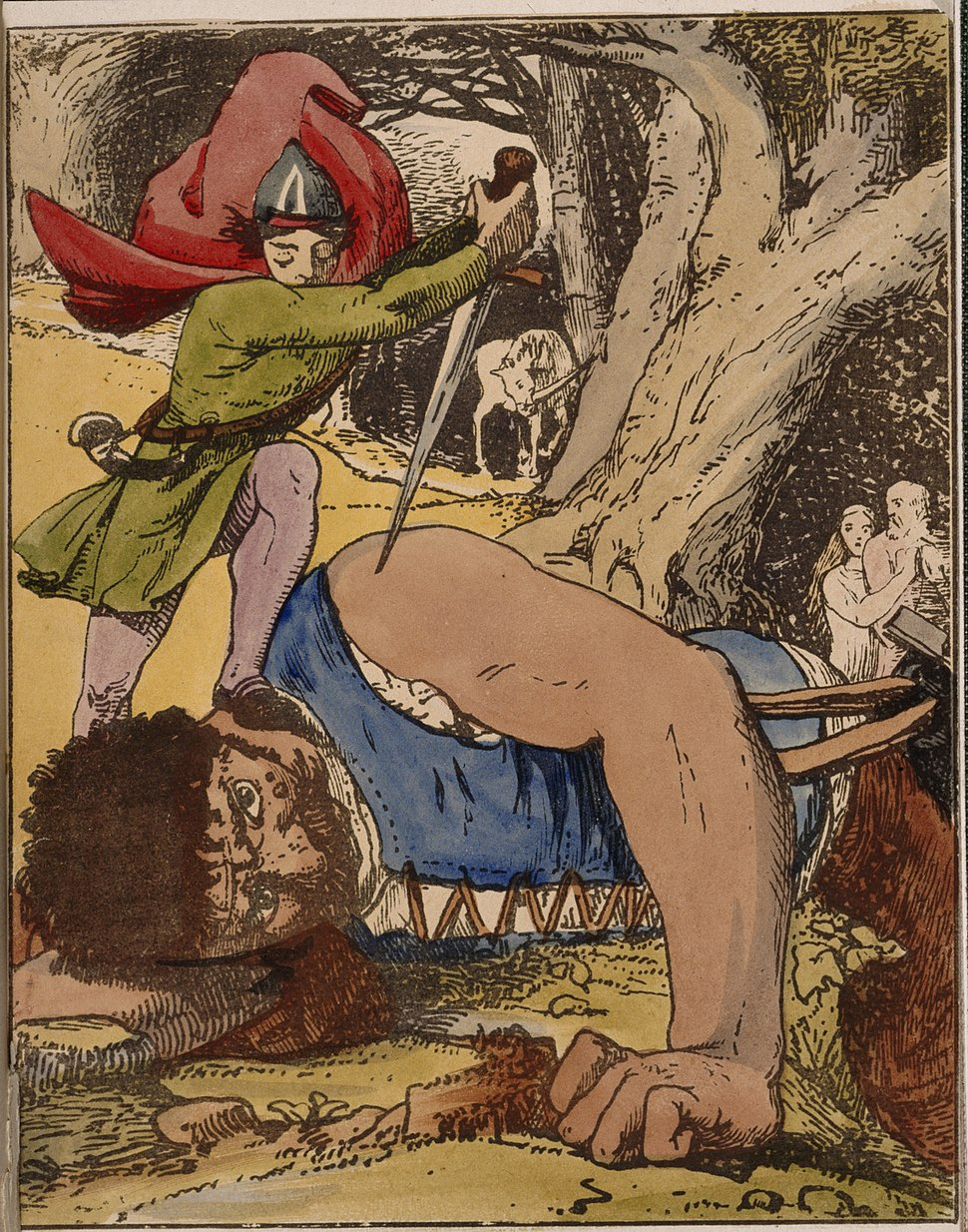 Jack killing the giant - The Chronicle of the Valiant Feats of Jack the Giant Killer (1845), facing 20 - BL