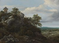Jacob van Ruisdael - Landscape with Houses on a Rocky Hill with a View of a Plain Beyond.jpg