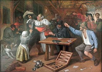 Knife fight - Argument over a Card Game, by Jan Steen, 17th century