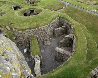 "Shetland - The preserved ruins of a wheelhouse and broch at Jarlshof, described as ""one of the most remarkable archaeological sites ever excavated in the British Isles""."