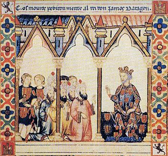 The Moors request permission from James I of Aragon Jaume I, Cantigas de Santa Maria, s.XIII.jpg