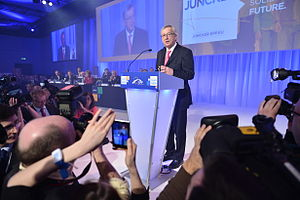 Juncker Commission - Juncker delivering a speech at the election congress of the People's Party in March 2014